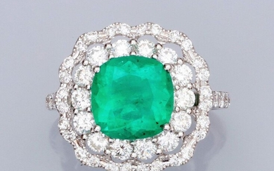 Ring in white gold 750°/00 (18K), set with a cushion emerald of about 3.50 carats (Colombia, traces of resin), double surrounded by brilliant-cut diamonds. 6.20 g. TDD 55. Width: 17.9 mm. Eagle's head punch