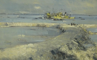 Robert King. Dredger boats reclaiming canal at Havant nr Por...
