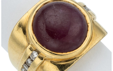 Ruby, Diamond, Gold Ring The ring features a ruby...