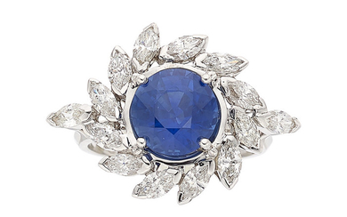 Sapphire, Diamond, White Gold Ring The ring features a...