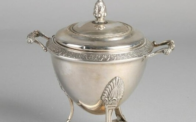 Silver goblet with lid, 800/000, round model decorated