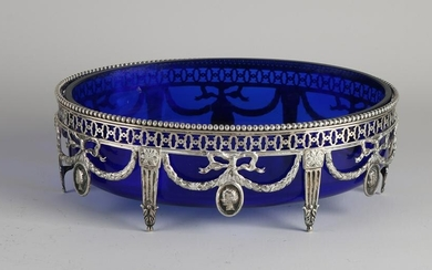 Silver jardiniere, 833/00, with blue glass inner