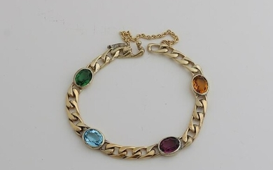 Silver plated bracelet, 925/000, with stones.
