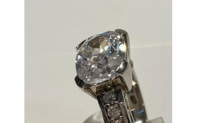 Sterling Silver Cubic Zircona claw set large oval stone of o...