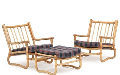 Swedish furniture design: A pair of easy chairs and stool of bamboo. Cushions upholstered with checkered wool. (3)