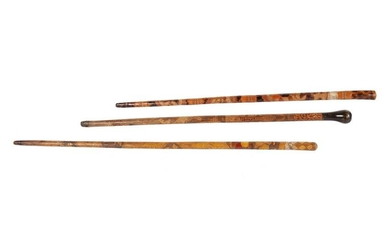 THREE CARVED MEXICAN WALKING STICKS