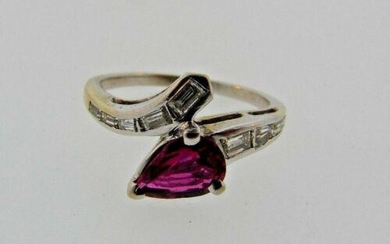 TIMELESS 14k White Gold, Diamond & Ruby Ring