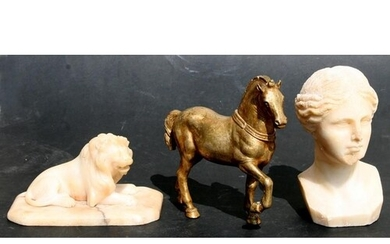 Three antique Grand Tour items to include a marble bust of a...