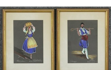 Two [2] 1958 & 1960 Gouache Paintings GREECE Costumes