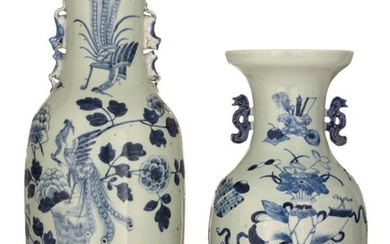 Two Chinese blue and white celadon ground vases,...