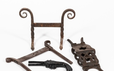 Two Wrought Iron Boot Scrapers and Two Cast Iron Bootjacks
