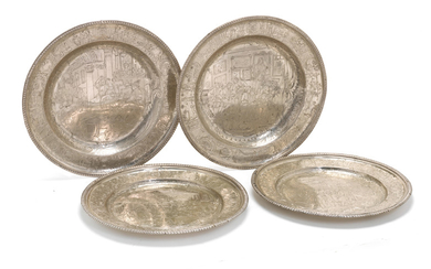 Two matched pairs of silver-plated plates