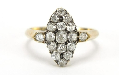 Unmarked gold diamond cluster ring, size T, 4.0g