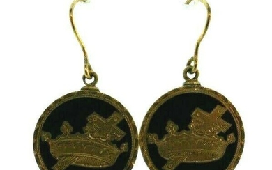 VICTORIAN 10k Yellow Gold & Enamel Earrings Circa 1900s