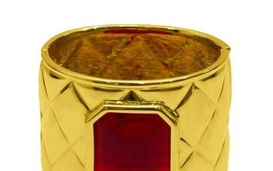 Valentino Gold quilted cuff with red poured glass stone