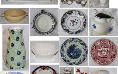 Various separate antique dinnerware parts (83) - Ceramic, Earthenware, Porcelain