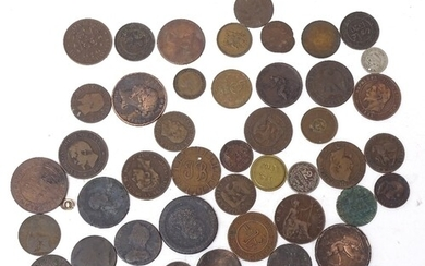 Various world coins, including Georgian and Victorian