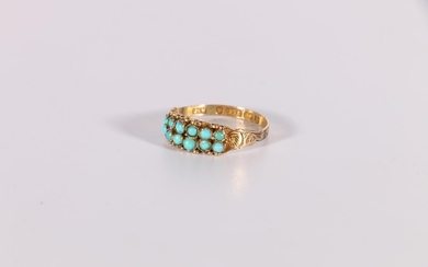 Victorian 9ct gold ring with two rows of turquoise engraved,...