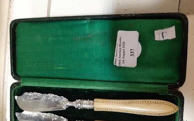 Victorian Pair Of 1869 Solid Silver Butter Knives In Box