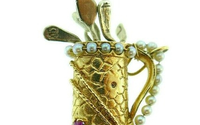 Vintage 14k Yellow Gold Pearl Ruby Sapphire Golf Bag