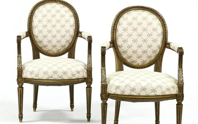 Vintage Pair of Louis XVI Style Carved and Gilt