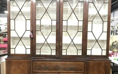 Vintage Windowed Wooden China Cabinet W Drawers
