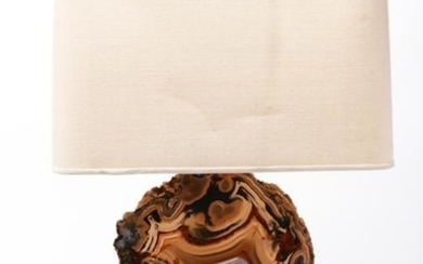 Willy Daro Agate Geode Brass Table Lamp
