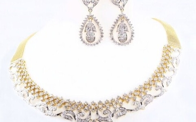 14 K Yellow Gold IGI Cert. Diamond Necklace & Earrings