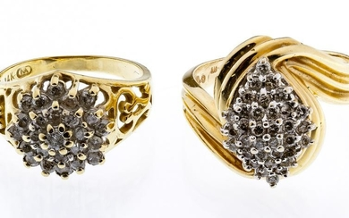 14k Gold and Diamond Cluster Rings