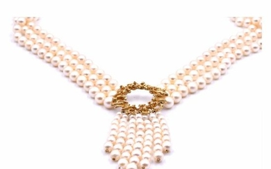 14k Yellow Gold Akoya Cultured Pearl Necklace with
