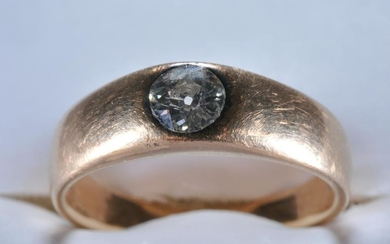 14k yellow gold and diamond band ring. Diamond is a