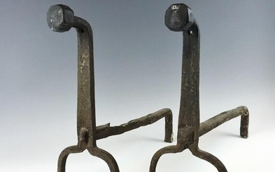 17th C. Hand Forged Iron Fireplace Andirons, (2pc)