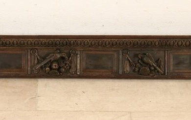 17th Century Dutch oak carving piece with heads / bird