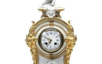 19th C. French Figural Porcelain & Gilt Mantel Clock
