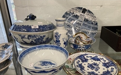 19th cent. Chinese large tureen 14ins, plus blue and white o...