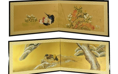 2 Painted Chinese 2 Panel Wall Screens with Birds