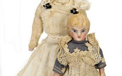 2 dollhouse dolls, bisque shoulder headed dolls, arms