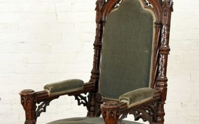 CARVED 19TH C. GOTHIC STYLE UPHOLSTERD ARM CHAIR