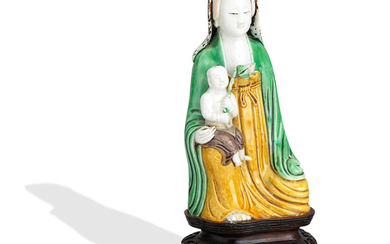 A famille verte biscuit figure of Guanyin