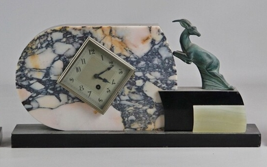 """3 pc French Art Deco marble figural clock set, 9 1/2"""""""