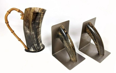 3pcs Carl Aubock Style Horn Table Wares. Bookends and
