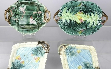 (4) MAJOLICA TWO HANDLED TRAYS