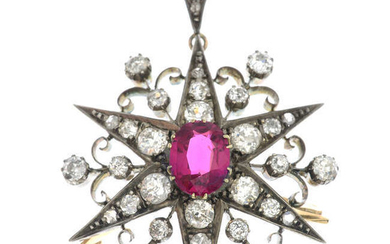 A late Victorian gold synthetic ruby and diamond pendant.