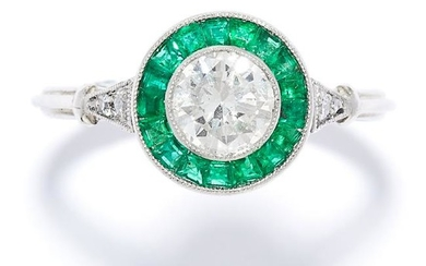 EMERALD AND DIAMOND DRESS RING in 18ct white gold or