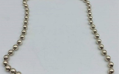 .925 Sterling Silver Beads Necklace
