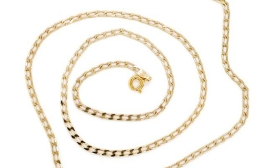 9ct yellow gold chain necklace with flat cuban type links. M...