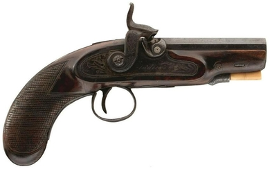 A 54-BORE SMALL PERCUSSION TRAVELLING PISTOL BY