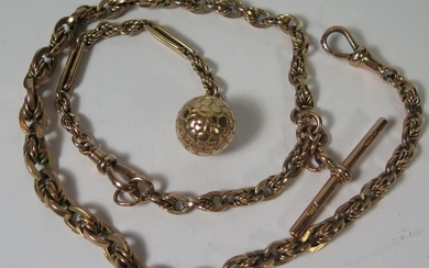 A 9ct Gold Albert with T-bar and fob, 38.8g