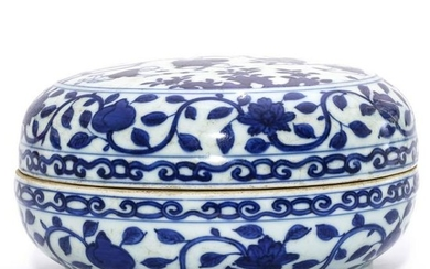A Blue and White Circular Box and Cover