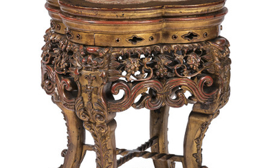 A CHINESE HONGMU STAND, LATER GILT, LATE 19TH CENTURY